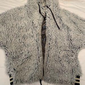 Free People hooded grey furry jacket